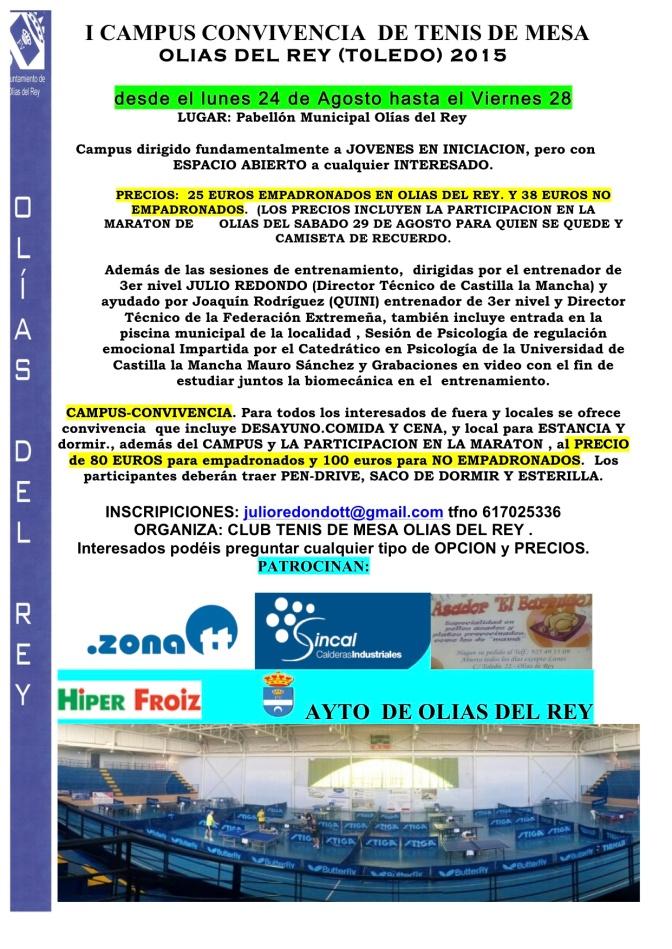 I CAMPUS CONVIVENCIA TENIS DE MESA OLIAS DELR EY 2015