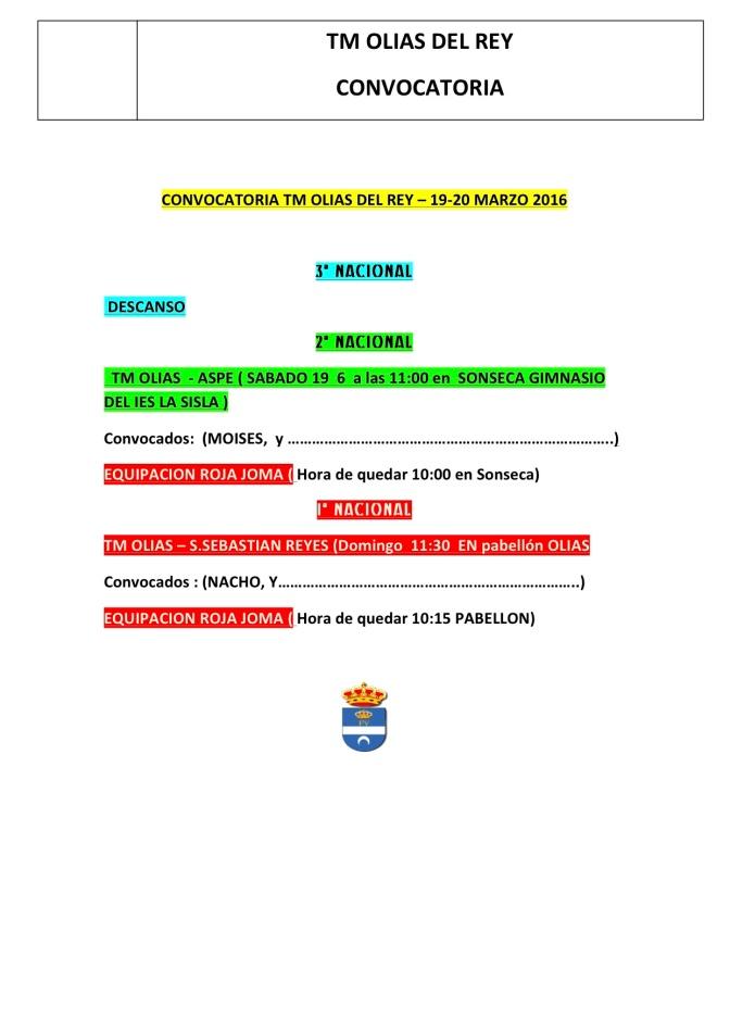 PARTIDOS DEL FIN DE SEMANA 19 – 20 MARZO