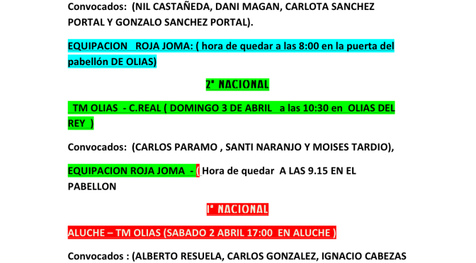CONVOCATORIA SINCAL TM OLIAS FIN DE SEMANA 2-3 ABRIL
