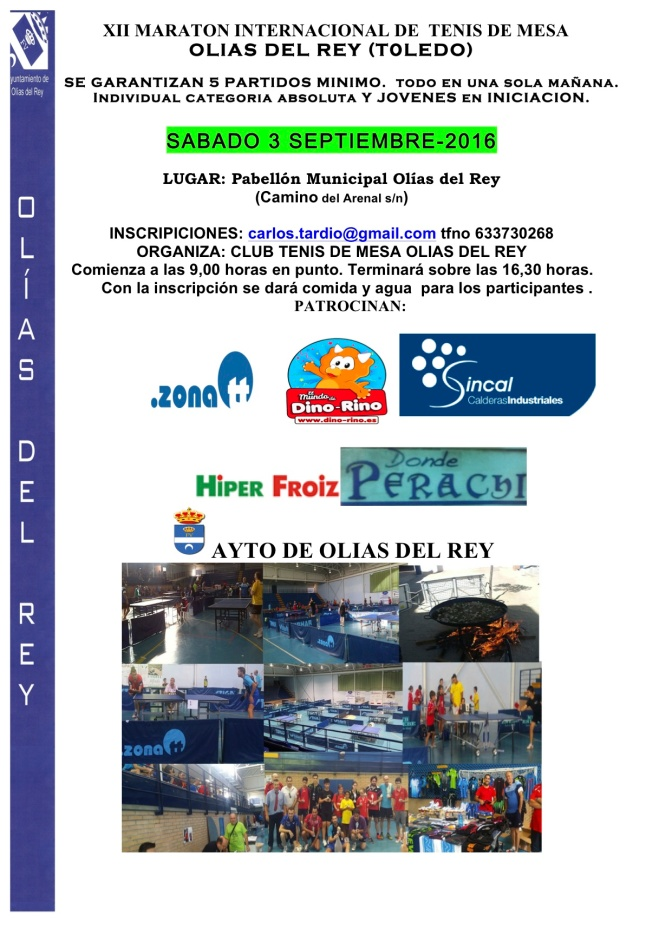 XII MARATON INTERNACIONAL TENIS DE MESA OLIAS DEL REY