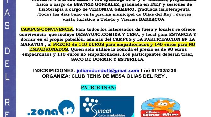 II CAMPUS CONVIVENCIA TENIS DE MESA OLIAS DEL REY 2016