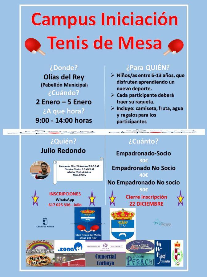 CAMPUS DE TENIS DE MESA DE  NAVIDAD OLIAS DEL REY (INICIACION)