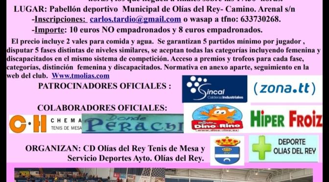 XV MARATON INTERNACIONAL DE TENIS DE MESA OLIAS DEL REY 2019